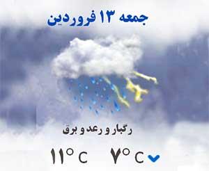 اخطاریه هواشناسی در مورد بارانی بودن روز ۱۳ فروردین
