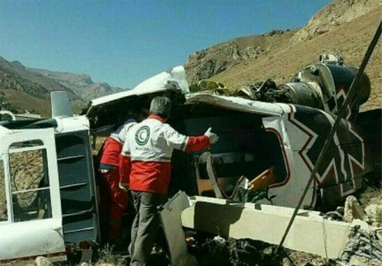 سقوط بالگرد امدادی در جاده هراز / مرگ تکنیسین اورژانس + تصویر