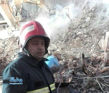 حضور آتش نشان چهاردانگه ای در عملیات اطفا حریق و آواربرداری پلاسکو + عکس