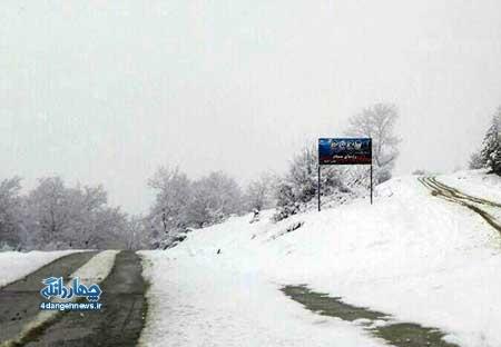 بارش اولین برف زمستانی در بخش چهاردانگه