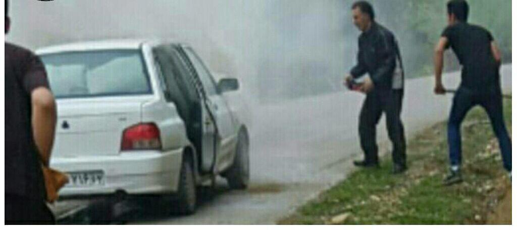آتش سوزی یک دستگاه پراید در ابتدای جاده روستای ولاغوز