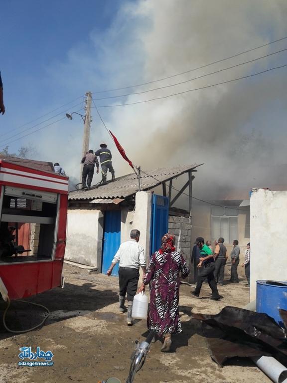 اتقاق یک فقره آتش سوزی در روستای الندان + تصاویر