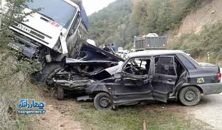 یک کشته و 3 زخمی در تصادف جاده کیاسر