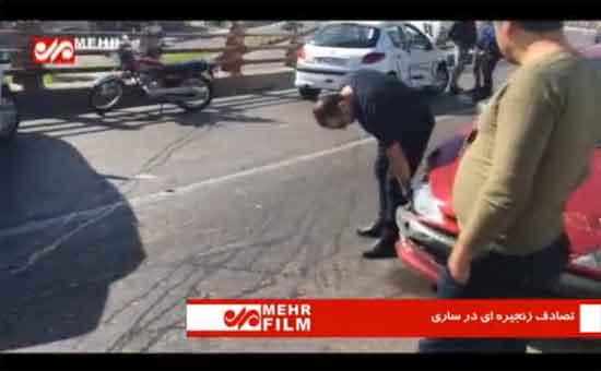 فیلم: تصادف زنجیره ای روی پل میدان خزر ساری