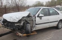 تصادف یک دستگاه پژو پارس با نیسان در جاده کیاسر + تصاویر