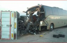 برخورد کامیون و اتوبوس در جاده هراز