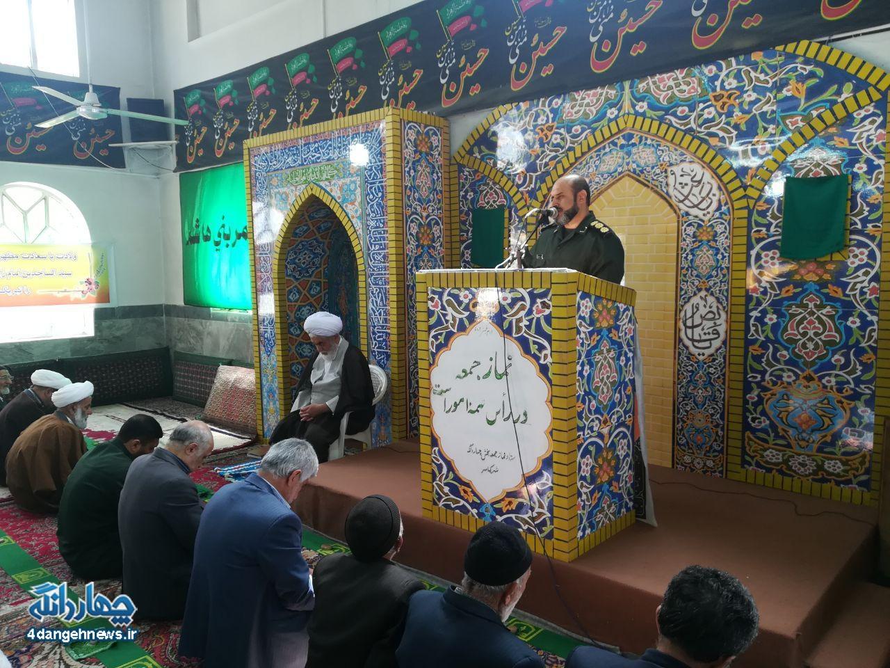 سخنرانی سرهنگ پاسدار علی خادم در نماز جمعه چهاردانگه