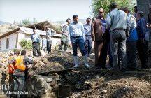 حضور فرماندار ساری در مناطق سیل زده چهاردانگه