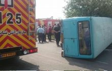 ۱۸ مصدوم واژگونی مینیبوس در شهرستان نور مرخص شدند