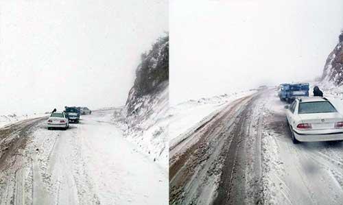 بارش اولین برف پاییزی در چهاردانگه/بارش برف در جاده ساری-کیاسر (عکس )