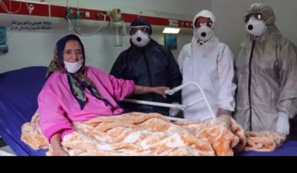 فیلم  ترخیص بیمار ۹۱ ساله کرونایی در بابل