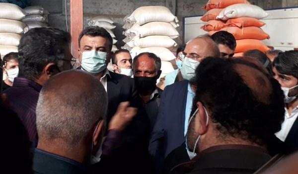 فیلم| بیان مشکلات شالیکاران مازنی در بازدید قالیباف از کارخانه شالیکوبی