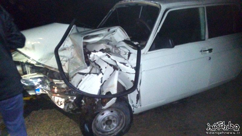تصادف یک دستگاه نیسان با خودروی سواری پیکان در محور کیاسر