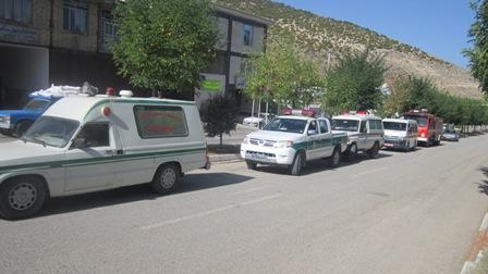برگزاری مانور آتش نشانی در شهر کیاسر