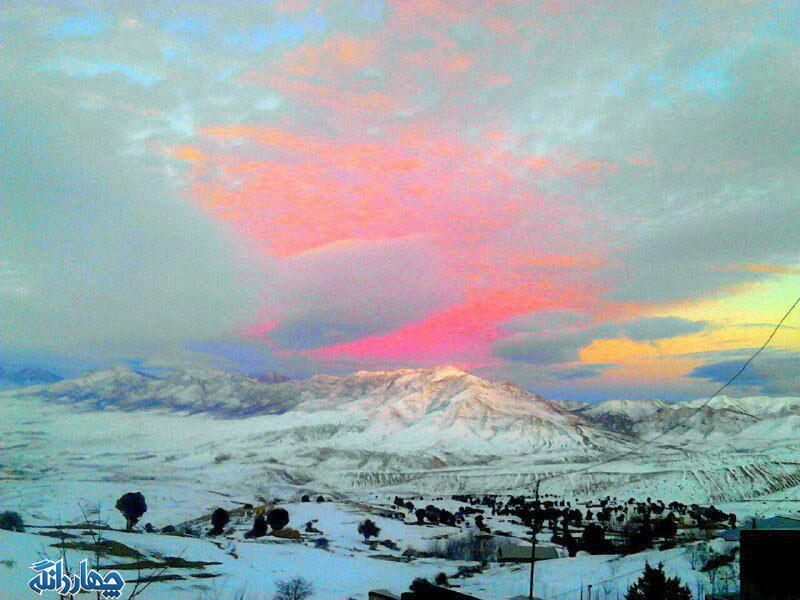 تصاویر زیبا از طبیعت برفی و غروب آفتاب در روستای اراء
