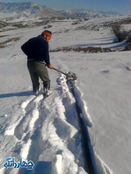 یخ زدن لوله های آّب آشامیدنی روستای اراء +تصاویر