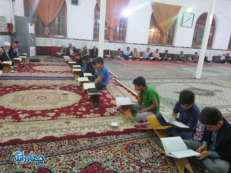 حضور امام جمعه بخش در محفل جز خوانی قرآن کریم در مساجد شهر کیاسر